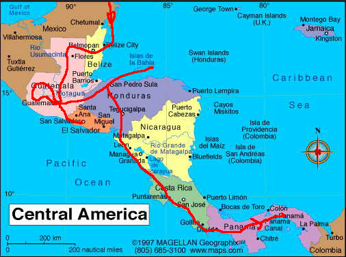 Image result for central america travel map